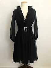 VINTAGE 1950'S ALVIN'S  BLACK OVERLAY SHEER  COCKTAIL PARTY PINUP DRESS