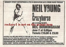 NEIL YOUNG UK TIMELINE Advert - NEC Birmingham  Tuesday 2-June-1987 2x3 inches