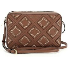 NWT AUTHENTIC MICHAEL KORS DIAMOND GROMMET LEATHER LARGE CROSSBODY BAG -LUGGAGE