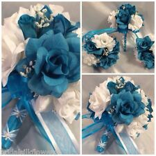 Round Malibu Turquoise White Silk Rose Wedding Bridal Bouquet Package Flowers