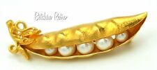 Trifari Pea Pod Brooch, Vintage Iconic Faux Pearl Peas Tucked In A Gold Tone Pod