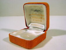 Boîte bijoux vintage n° 34 tissu orange, intérieur satin blanc, C. MITIFLETTE