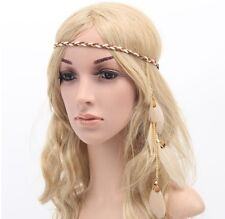 Feather Leaf tassles Headband Hairband Beige Boho Hippie Party Festival Beach UK