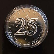 ***2013 CANADA MAPLE LEAF 25th ANNIVERSARY 1 OZ. .999 SILVER BU***
