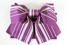 BNWT púrpura/Plata a Rayas fácil pre-atado tsukuri Obi para Kimono (Mariposa Arco)