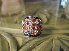 Gem Treasures® Sterling Silver Exotic Hessonite, White Topaz & Black Spinel Ring