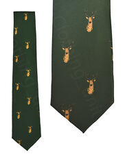 Mens Country Wear Tie Pheasant Stag Spaniel Green Wine Gold Motif Fishing