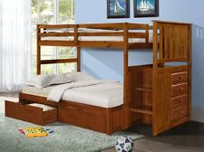 Bunk Beds with Storage Drawers, Stairs, and Built-in Dresser in Twin/Full