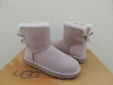 UGG FEATHER MINI BAILEY BOW SUEDE/ SHEEPSKIN BOOTS, WOMENS US 7/ EUR 38 ~ NIB