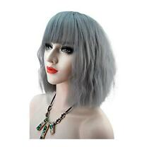 Women's Short Curly Wave Grey Mix Lolita Wigs Cosplay Anime Full Wigs Synthetic
