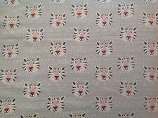 ~ FLANNEL~Jungle~Tigers~Childrens~Quilting~Grey~Fabric~Flannelette~Baby~Girls~FQ