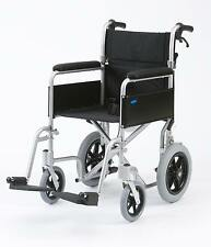 "Enigma Lightweight folding transit attendant wheelchair with handbrakes 18"" seat"