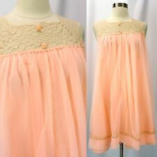 Vintage 60s Peach Pink Double Nylon Chiffon Lace Top Babydoll Short Nightgown M