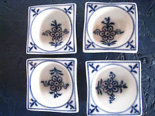 Rare Set of 4 Antique Meissen Blue Onion Cube Open Salt Dish Cellar-REDUCED