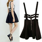 Women Mini Skirt High Waisted Pleated Skater Flared Suspender Braces Dress Black