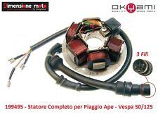 """119 - Statore """"Okyami"""" Completo 6 Poli 3 Fili per Piaggio Ape TM P50 dal 1985"""