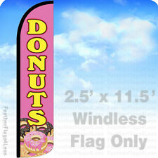 2.5x11.5' WINDLESS Swooper Feather Flag Banner Sign - DONUTS pz