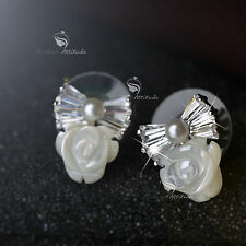 18k white rose gold Swarovski crystal bowknot rose stud earrings 925 pin