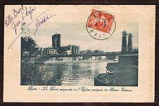 AGDE Hérault Pont Suspendu Égilise St Étienne CPA Écrite à BERGON & timbrée 1911