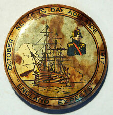 WWI Era - Tin plate button badge - Nelson's Day - Adelaide SA - October 1917