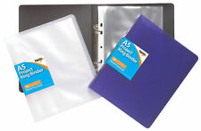 A5 Slim Ring Binder File Folder Assorted Colours + 10 A5 Punched Pockets - Pack