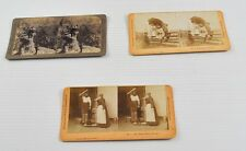 Lot of 3 Antique Stereo Viewer Cards Photos Mountaineers Summer Afternoon  BB3Y6