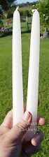 """2 x WHITE TAPER CANDLES 24cm or 9.5"""" Wicca Gothic Witch Altar Spell 9 HOUR BURN"""