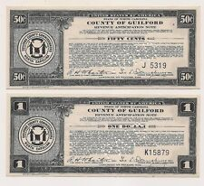 Two Aug 31,1933 County of Guilford NC  $1.00 & $0.50 Scrip --Pristine Condition