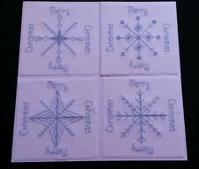 4 Christmas Card Snowflake Cross Stitch Kit with free xmas tree needle minder