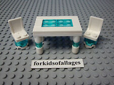 Lego Custom Glass Top White Table & Chairs -- House Furniture, Fits Minifigures