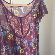 Free People Sheer Floral Tunic Woman Size L