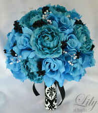 17 Piece Package Silk Flower Wedding Bridal Bouquet Sets TURQUOISE MALIBU BLACK