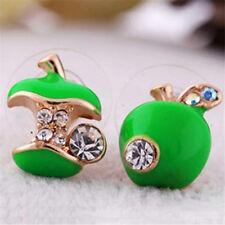 1 Pair Earring Pretty Enamel Red Apple Bead Rhinestone Crystal Stud Earrings