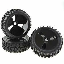 4PCS 1:8 Scale RC Buggy Hex 17mm Plastic Wheels Soft Rubber Tires Box Pattern