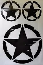Jeep US Army Military  Distressed Star Sticker -3 pieces set