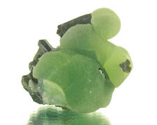 "2.6"" Jelly-Bean-Green Botryoidal PREHNITE on Dark EPIDOTE Crystals Mali for sale"