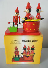 PINOCCHIO WOODEN MUSIC BOX ONE PINOCCHIO WINDER & FOUR FOR THE RIDE