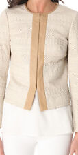 NWT$995 TORY BURCH AUTUMN LEATHER JACKET BLAZER TONAL RIBBONS 14 XL Beige Ivory