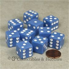 NEW 10 Pastel Blue w White D6 6 Sided RPG Bunco Game Dice Set 16mm 5/8 inch
