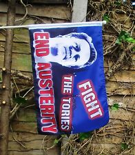 """FIGHT THE TORIES End Austerity HAND WAVING FLAG WITH POLE 18"""" X 12"""" Anti Tory"""
