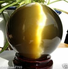 80MM + STAND Beautiful ASIAN QUARTZ TIGER EYE CRYSTAL HEALING BALL SPHERE AAA