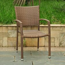 International Caravan Barcelona Resin Wicker Dining Chair, Light Brown
