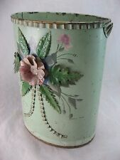 Bathroom Trash Can Vintage Shabby Art Deco Metal Tole 3D Flower Philadelphia PA