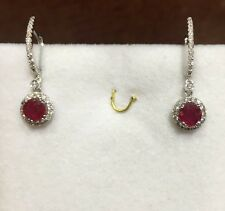 18k Solid White Gold Dangle Leverback Earrings with Natural Ruby & Diamonds3.60G