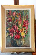 Huile sur panneau Isorel. Peinture au couteau signée.  Nature morte de fleurs.