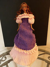 Purple and Pink Victorian Crochet Dress Vintage for Barbie Sized Dolls