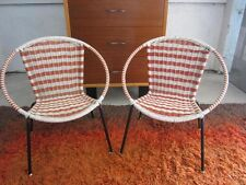 AMAZING PAIR OF MID-CENTURY MOD CHILD SIZE PLASTIC COATED WICKER SAUCER CHAIRS