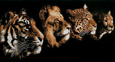 14ct Complete Counted Cross Stitch Kit Four Beasts tiger leopard lion animals