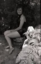 1960s Young Woman in Swimsuit Posing for Camera - Vintage B&W Negative