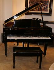 Kohler & Campbell polished black ebony petit grand piano with PianoDisc player